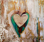 Heart (mixed media on canvas with pewter)